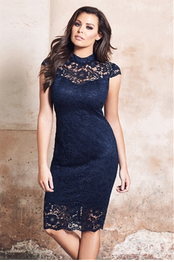 Jessica Wright Collette Navy Scallop High Neck Lace Bodycon Dress