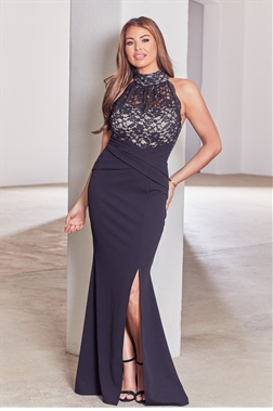 Sistaglam loves Jessica Wright kayti black nude halter neck maxi dress with side split