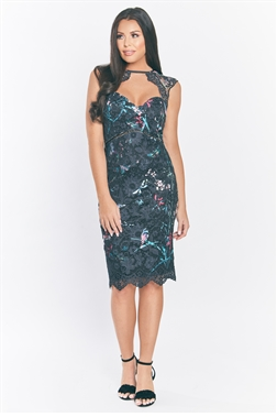 Jessica Wright Mattie multi floral print on all over lace midi bodycon dress with sweetheart keyhole neckline