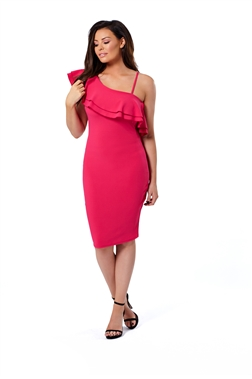 Jessica Wright Reilly Pink Frill Bodycon Dress