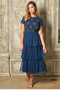 Jessica Rose Special Edition Hopie Navy Cap Sleeve Midi Tiered Dress