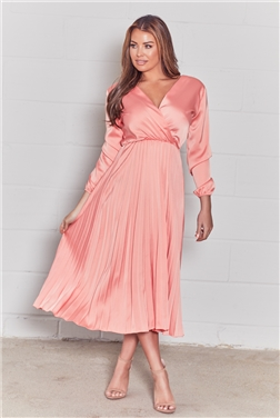 Sistaglam loves Jessica Wright Cynthia coral long sleeve wrap neckline pleated midi dress
