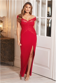 Sistaglam Santianna Red off the shoulder lace detailing split Dress