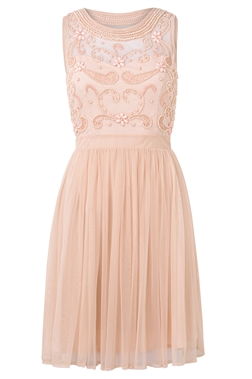 Sistaglam Nikal blush high neck embellished skater dress