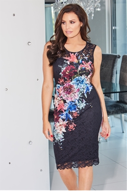 Jessica Wright Elsie Floral Print Lace Midi Dress