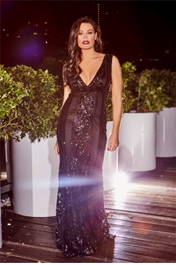 Jessica Wright Olympia Black VIP Sequin Embellished Deep V-neck Maxi Dress