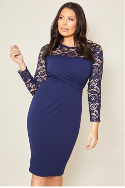 Sistaglam loves Jessics Wright Julienn navy lace sleeve bodycon dress with pleated rouched waist