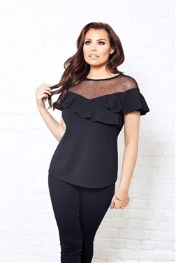 Jessica Wright Audrey Mesh Short Sleeve Ruffle Frill Top