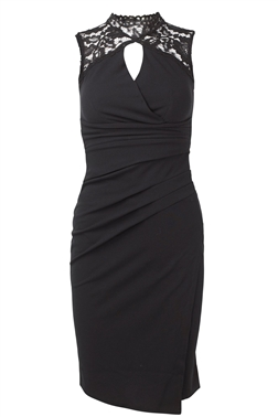 Yalinda Black Key Hole Mini Bodycon Dress