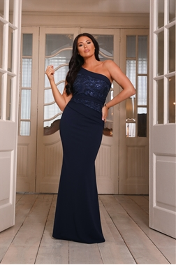 Sistaglam loves Jessica Wright Alivia one shoulder lace top navy maxi dress