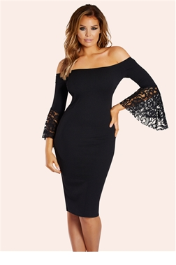 Jessica Wright Zazie Black Bardot Frill Sleeve Dress