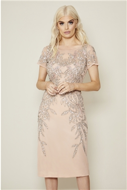 Sistaglam Tamin blush cap sleeve embroidered midi dress