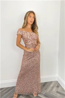 SISTAGLAM ASTRID ROSE GOLD ALL OVER SEQUIN MAXI DRESS