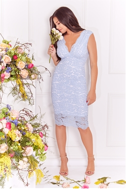 Jessica Wright Aaliyah cornflower blue all over lace bodycon midi dress