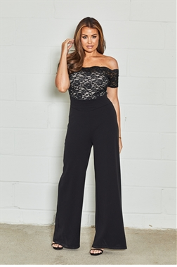 Sistaglam loves Jessica Wright Luciya black nude lace off the shoulder flare jumpsuit