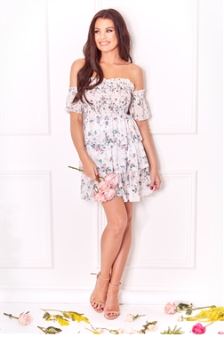 Sistaglam Loves Jessica Wright Sheara multi bardot shear short sleve teared skirt floral print mini dress