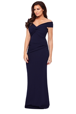 Jessica Wright Marina Navy Bardot Maxi Dress