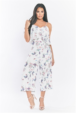 Jessica Wright Multi Calita floral chiffon jumpsuit with frill top and cross back straps