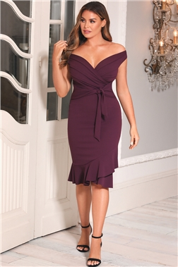 SISTAGLAM LOVES JESSICA WRIGHT CLELIAH MERLOT BARDOT MIDI DRESS