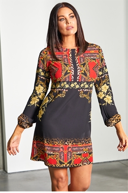Sistaglam Loves Jessica Wright Jesz black multi check print long sleeve dress
