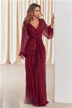SISTAGLAM DAISIANNE BERRY EMBELLISHED LONG SLEEVE WRAP MAXI DRESS