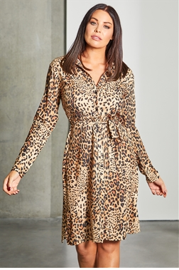 Sistaglam Loves Jessica Wright Cherie multi leopard button up satin shirt dress with slits