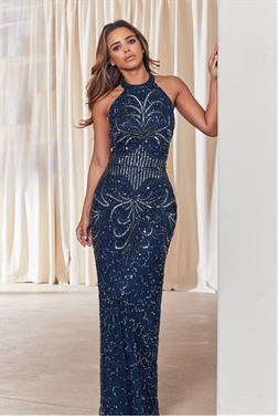 Sistaglam Flossy all over embellished halter neck maxi dress