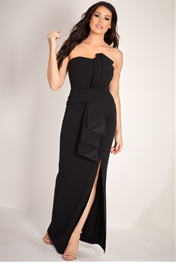 Sistaglam Loves Jessica Wright Shanna Black structured bandeau origami pleated tailored maxi dress