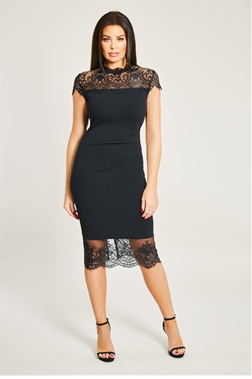Madelyn Black panel Lace Trim Dress With eyelash hem