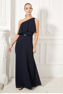 Sistaglam Bianca navy one shoulder ruffle with flare hem maxi dress