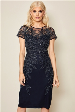 SISTAGLAM TAMIN PETITE NAVY CAP SLEEVE EMBROIDERED MIDI DRESS