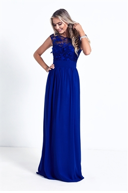 Sistaglam Beverley Royal Blue Embellished Maxi Dress