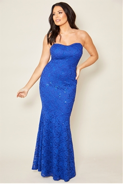 Jessica Wright Arizona cobalt blue Lace Fishtail Bandeau All Over Maxi Dress