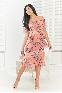 Jessica Wright Molley multi bardot asymetrical frill printed dress