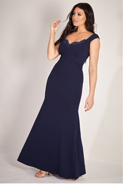ce23233888c Sistaglam Loves Jessica Wright Miran navy stretch bodycon maxi dress with  lace insert detail