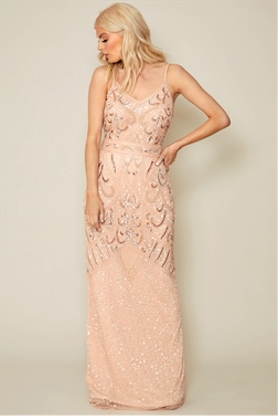 Sistaglam Flory pink/blush embroidered maxi dress