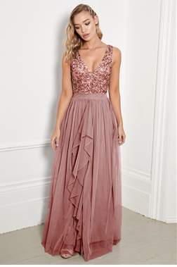 Sistaglam Yasmin rose gold v neck maxi dress with sequined top