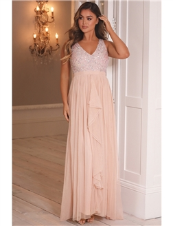 Sistaglam Yasmin Petite Blush Sequin Detailed v-neck top Tiered Bridesmaid Dress