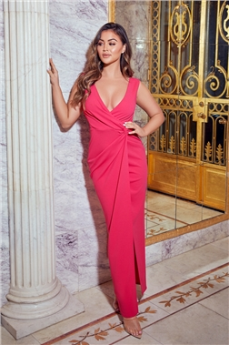 SISTAGLAM CHROME HOT PINK V NECK FRONT KNOT MAXI DRESS