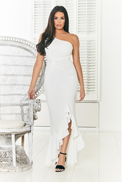 Jessica Wright Scarlette white one shoulder frill split maxi dress with rouched waist