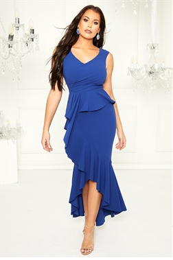 Jessica Wright loves Sistaglam Jemran cobalt blue maxi high low stretch dress with frill hem