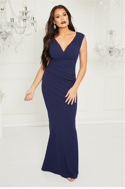 4f435646bab Sistaglam Loves Jessica Wright Kayleen Navy maxi v neck dress with rouching