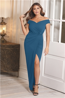 SISTAGLAM LOVES JESSICA WRIGHT OCTY TEAL OFF THE SHOULDER DRESS