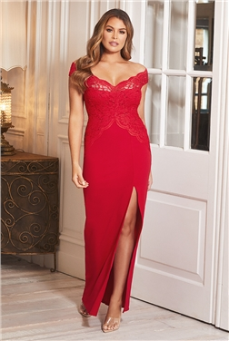 Sistaglam Loves Jessica Wright Santianna Red Maxi Lace Embroidered Dress