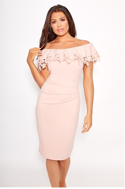 Sistaglam Loves Jessica Wright Dixey pink nude lace overlayer bardot bodycon with ruched stomach