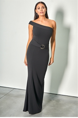 317e56cf1c0 Sistaglam Loves Jessica Wright Reiny black one shoulder maxi bodycon dress  with ring belt