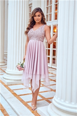 MELLI SEQUIN TOP MIDI PINK DRESS