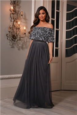 Sistaglam Iriana Charcoal off the shoulder maxi dress