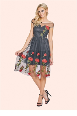 Sistaglam Elliotte Black Embroidered Bardot Prom Dress