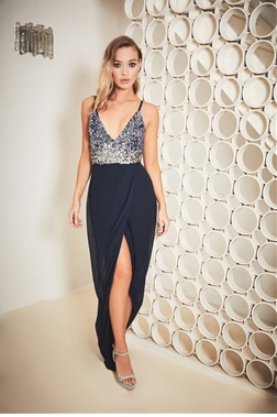 Sistaglam Thea navy embellished strappy wrap maxi dress